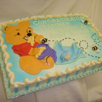 Baby Pooh 1/2 sheet cake with bc icing ...pooh, honey pot and honey bees are mmf. thanks for looking!