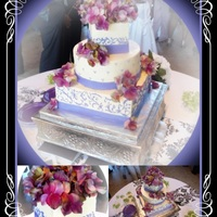 Purple Scroll Wedding Cake White and purple buttercream with fondant ribbon on bottom.... Free handed scroll work and swiss dots. Flowers were provided by the bride...