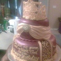 Fit For A Queen Fondant covered with gumpaste crown... Most decor is fondant, scroll work and writing is buttercream.. Medallion is non-edible but gives a...