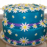 Another Pic Of The Daisy Cake More close up of the cake. I had a very hard time with the icing it is the one area I fee I need the most help ! thank for looking