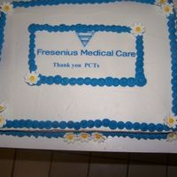 1/2 Sheet Cake For Dh Work For Pct Week Patient Care Tech Week at my husbands work. I made two of these for the local clinics. One was Irish Creme and the other was WASC with...