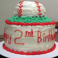 Baseball Cake I made this for my nephews 2nd birhtday. Its a sports themed party.