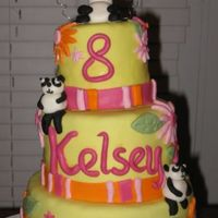 "Kelsey's 8Th Birthday My daughter wanted a ""pretty cake with PANDAS on it"" for her 8th birthday... so this is what I came up with it. 8"", 6""..."