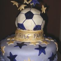 Purple Panther Trophy Caked done for my eight year old daughter's soccer team party. They were UNDEFEATED this season! Bottom cake is yellow with chocolate...