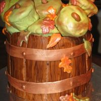Bushel Of Apples Three 8' rounds stacked. Barrel is MMF/gumpaste mix. Apples are cupcakes covered in MMF. I wanted to try and make green apples, in...