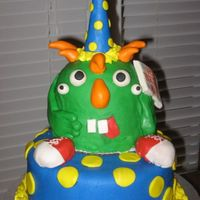 "Mac's Birthday Monster This cake was made for my friend's son's 5th birthday. The birthday boy specifically requested ""a green monster with five..."