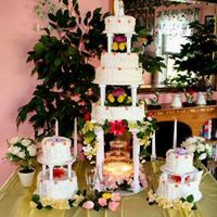 Garden Splendor Fountain Wedding Cake Over 50 inches tall fountain garden wedding cake. 4 tiers sit atop a lighted water fountain. Delicious white cake for the topper and the...