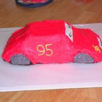 Side View Cars Cake Side view of my Cars cake. Made for a 2 year old so he didn't notice the missing details (i.e.back side windows, lightning, etc).