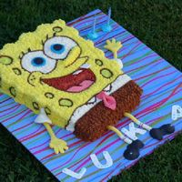 Sponge Bob For 2-Year Old Lukas Carved sheet cake, covered in BC. MMF Extras.