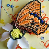 "Aiko's Butterfly On A Daisy Made for an ""arty"" friend. Carrot cake with CC Icing & GP extras. ""Antennae"" are those sparkling candles (non-..."