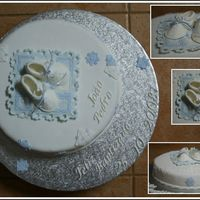 "Joao Pedro Se Doopkoek 1st Baptism cake and first time ""booties"". Got template from the marthastewart.com site. Photo's not great - customer..."