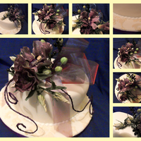 Made For A Raffle Cake For Our Local Cake Decorator's Club Features Vanda Orchids, Lisianthus and black berries. Board is patterned