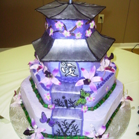 "Japanese Pagoda Client having an ""Asian"" themed wedding, requested a Pagoda cake. Bride was a military child, grew up in Japan. It was a..."