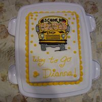 Retirement Cake This is a cake for a school bus driver. She drove her bus for over 30 years. The bus is made with color flow. I had fun make it! TFL
