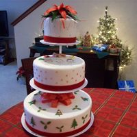 Christmas Cake I was snowed in and started playing with gumpaste. The poinsettia is made out of gumpaste. The angels are patchwork cutters and the bow is...