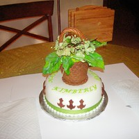 Gumpaste Flowers Gumpaste Hydrangeas and fondant basket. White cake with rasberry filling and homemade fondant.