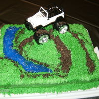 Matt's Jeep Cake I made hills out of extra cake I had. River was piping gel. Thanks for looking!