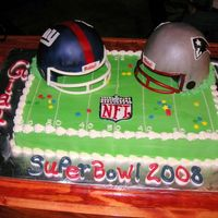 Super Bowl 2008 These helmets were made using rice krispies! Very fun! face guard was gumpaste.
