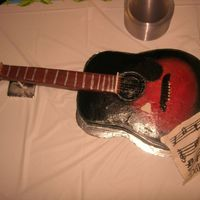 Acustic Guitar Guitar was made for a grooms cake. I used chocolate cake and iced with chocolate frosting. colors were abrushed.