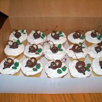 "Christmas Mice Cupcakes My grandson needed cupcake for school Christmas party, saw this idea here on CC. Kids really enjoyed ""eating"" mice."
