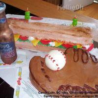 Charlies Birthday 09 My son requested a carrot cake, so I made some of his favorite things, Sub Sandwich, He plays on adult softball team...carved a somewhat...