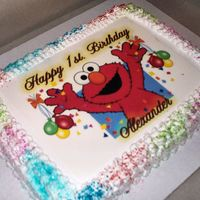 Alex Birthday Requested Elmo theme for great nephew's 1st. birthday. Edible image