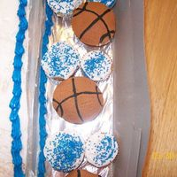 Basketball Cupcakes   i did these for my nephews bday- he plays basketball and i did them to go with his cake.
