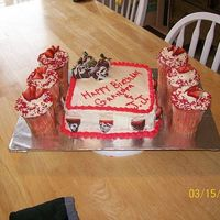 Strawberry Cake Strawberry cake, with cream cheese icing, a layer of strawberry jam in the middle of the two layers, chocolate dipped strawberries