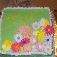 Happy Spring   i made this cake as a thank you for someone. all bc and the flowers are made out of fondant and gumpaste.