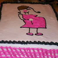 Pregnant Lady  butter cake, with all buttercream icing. this was for a baby shower and all they said was that they wanted it pink and black. the invites...