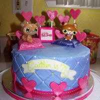 "Caitlin's 7Th Birthday WASC cake, buttercream with fondant accents. This was for my niece's ""Littlest Pet Shop"" birthday. the animals are plastic..."