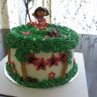 Dora #1 Made this cake for a little girl turning 2. I found a few pictures of cakes people had done incorporating Dora and kind of combined them...