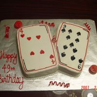 Cards White Cake covered in BC w/chocolate poker chips