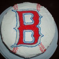 Red Sox Cake Cake is decorated with buttercream frosting. The stitching continues down the side. Players numbers are also on the sides of the cake.