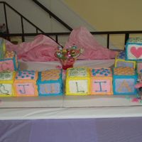 Baby Shower Cake - Blocks Made this baby shower cake where they knew the baby was a girl. The baby's name will be Julia. I have more pictures of the top and...