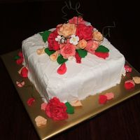 Autum Wedding Cake/anniversary Cake this cake i am very happy with... it is fruitcake with marzipan and fondant icing covered with textured royal icing and gumpaste roses and...
