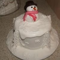 "Snowman this is another mini christmas cake, 4"" fruit cake with fondant , royal icing and lce trees and lace snowflakes... this is my favorite..."