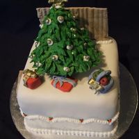 "Mini Christmas Cake this is a 4"" christmas cake, my mum ordered 4 of them , this one has a story behind it, the fence in the background really , the cake..."