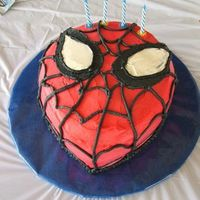 "Spiderman this is my sons 4th birthday cake...big spiderman fan obviously.. the cake is 10"" round cut to shape freehand , double with strawberry..."