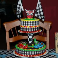 Disney Cars Cake  I made this cake son's 3rd birthday. The top cake is an 2-layer 8 inch round and the bottom cake is a single layer 10 inch. i used...