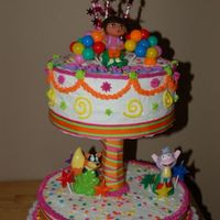 Dora Cake This was made for a 3 year olds birthday party. The top cake is 2 -layer 8 inch round with the bottom cake a single layer 10 inch. Both...