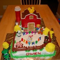 Big Red Barn Cake This was my very first 3-D cake for my friends son's birthday. The barn is a 1/2 sheet cake cut into 4 sections, stacked and then...