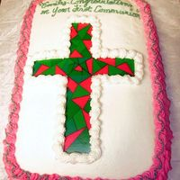 First Communion Pink And Green Marble cake with buttercream icing. I don't know who I got this idea from but I saw several pictures with a similar theme. Thanks for...