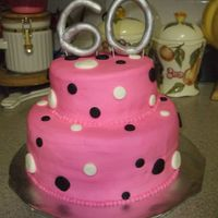 60Th Birthday Cake   Made this for a friends mom. 60 is made from fondant.