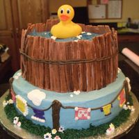 Rubber Ducky Shower Cake Made for a good friends shower. Rubber ducky on top is not edible, everything else is. I made this in her home town and the humidity got to...