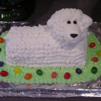 Lamb Cake White cake with BC. The head is a muffin.