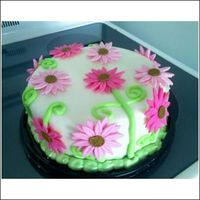 Gerber Daisy's Birthday Cake!  This is a white chocolate cake filled with white chocolate buttercream frosting, and covered in fondant. Its just a cake I made for a...