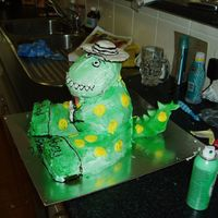 3D Dorothy The Dinosour Moulded the hat and tail (first attempt) rest was done in buttercream. Was fun but took a while to get my head around how I was actually...
