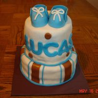 Baby Lucas I'm almost embarrassed to post this picture. Sadly, this is NOT my first fondant cake. What a wreck.