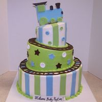 Whimsical Train Baby Shower All Buttercream with Fondant Accents.